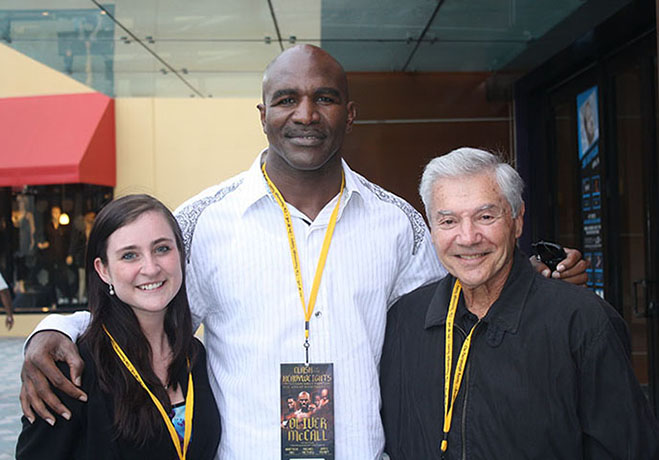 Jaime (Ron's Granddaughter), Evander Holyfield, and Ron Ross