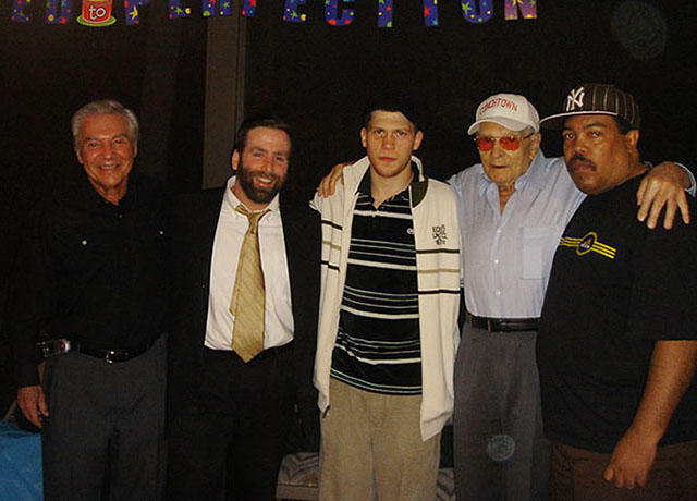 Ron Ross, Rabbi, Dmitriy Salita, Hank Kaplan, Dmitriy's trainer