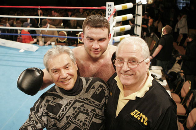 Ron Ross, British/Israeli heavyweight Roman Greenberg, and his manager-trainer Jim Evans
