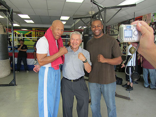 Former heavyweight champ Pinklon Thomas, Ron Ross, and Jason Pugh, NBC sportscaster